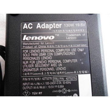 Original Genuine Lenovo 42T5278 ADP-150NB B ADP-150NB-D 130W 19.5V 6.66A AC Adapter